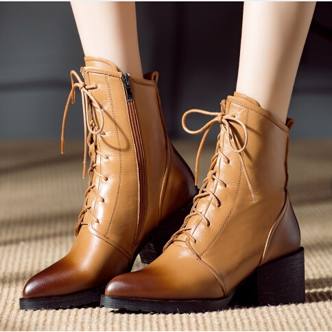 Фотография 2016 Fashion arrival ladies sexy Boots High Heel pointed toe lace-up Ankle Shoes women Motorcycle Boots  size 34-39