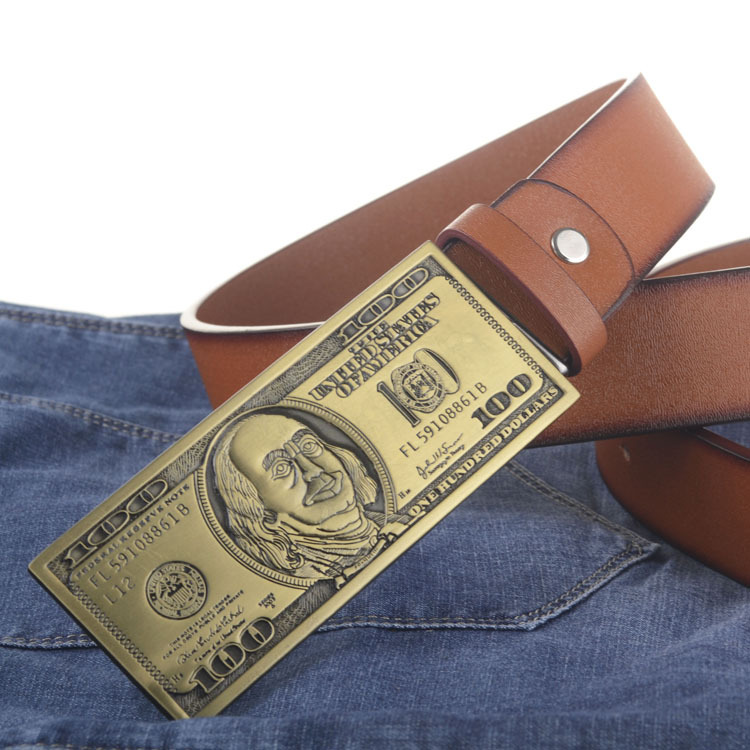 US dollar buckle PU leather belt big buckle man belts new style fashion great leather belts 5247(China (Mainland))