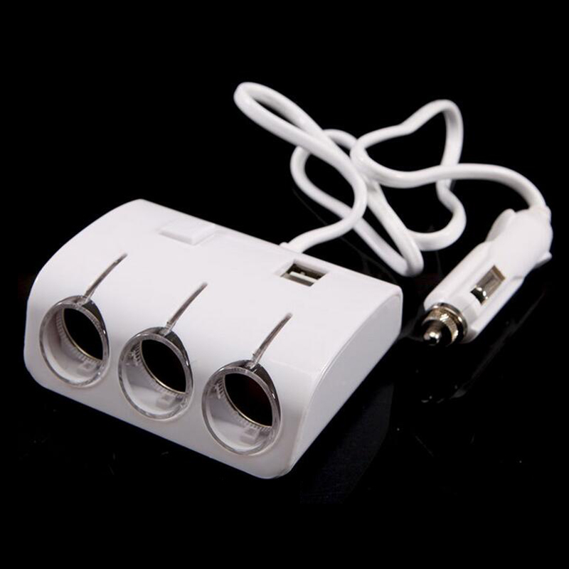 Car Cigarette Lighter Plug Power Adapter Output 120W 5V Dual USB Port 3 Way Car Cigarette Lighter Socket Splitter Charger 12V(China (Mainland))
