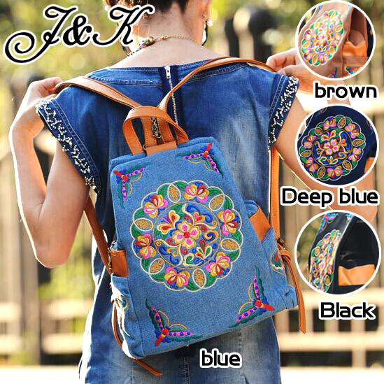 India National ethnic embroidery backpack leather Shoulder strap fabric embroidered denim shoulder bag women Boho(China (Mainland))