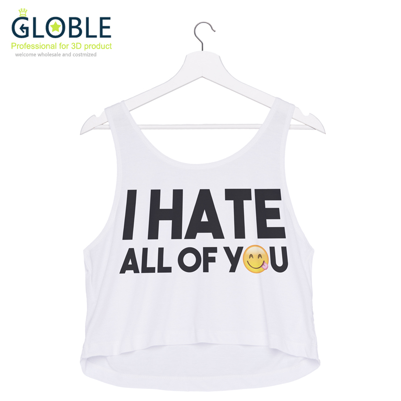 2016 Hot Sale Summer Style Short Tank Tops Women Girls Cute Crop Top Love and Peace Printing Vest Sexy Women Fitness Camis TS835(China (Mainland))