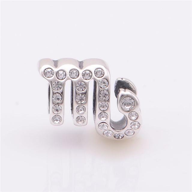 Лаки знак 925 чистое серебро Jewerly скорпиус спейсерной бусины с камнями камни подходят европейский подвески-талисманы браслеты для женщины своими руками