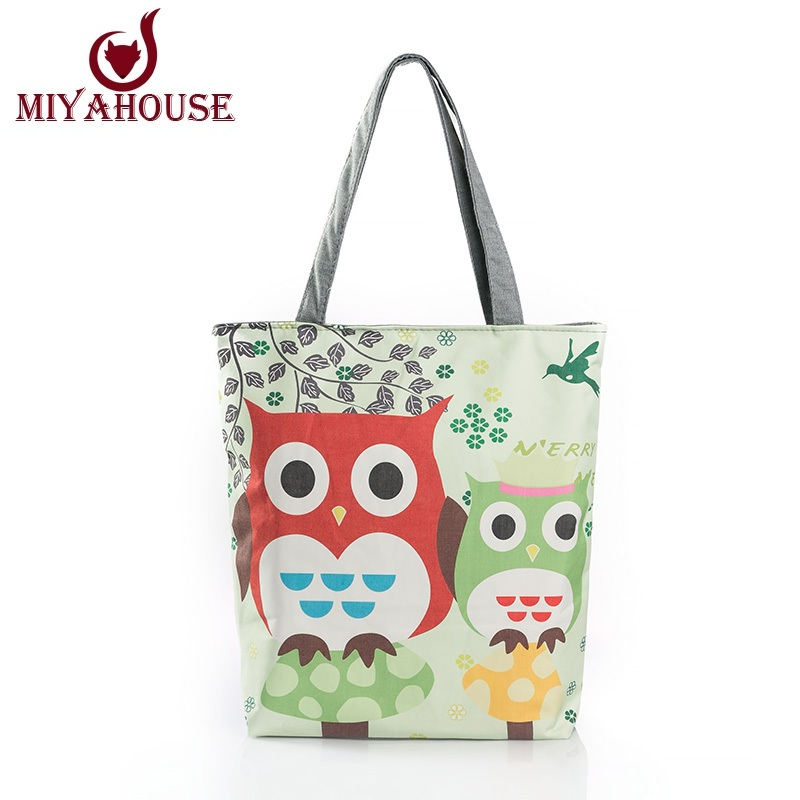 Floral And Owl Printed Canvas Tote Female Casual Beach Bags Large Capacity Women Single Shopping Bag Daily Use Canvas Handbags(China (Mainland))