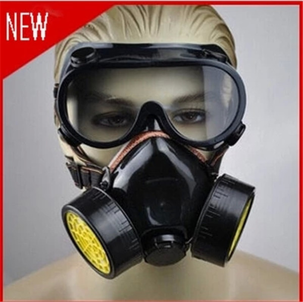 2015 New 1pcs Double Gas Mask protection filter Chemical Gas Respirator Face Mask(China (Mainland))