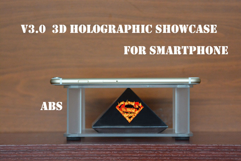 3d display showcase suit for 3.5 6.5 inch smartphone holographic display 3D pyramid hologram showcase(China (Mainland))