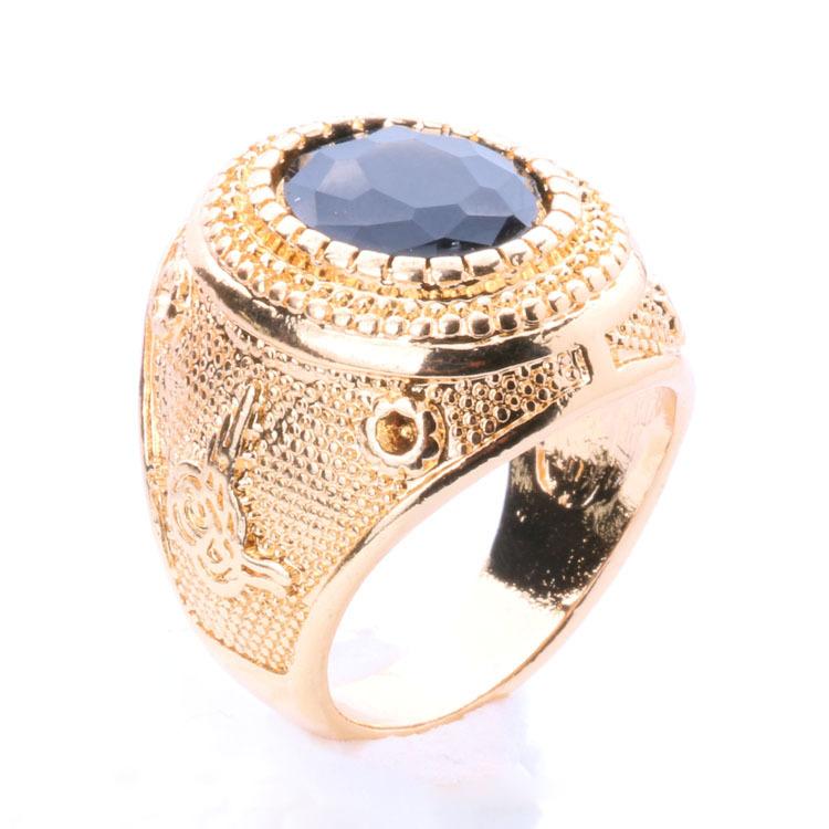 2015 Fashion Jewelry Big Ring Gold Vintage Jewelry Tibetan Silver Alloy Punk Rock Circular Black Ring