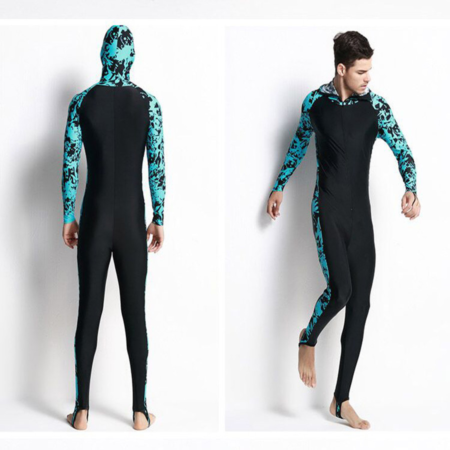 Swimming Surfing Wetsuit 80% Nylon 20% Spandex Foot Tights Hooded Wet Diving Suit Upf50+ Navy Fishing Suit For Men 4XL Hot(China (Mainland))