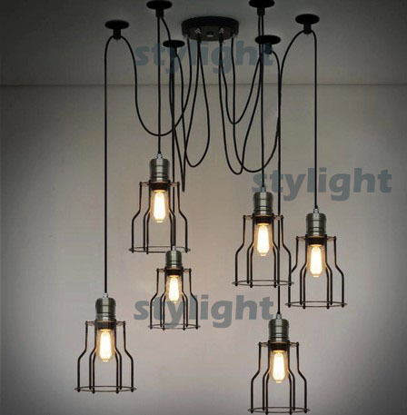 lampadari industriali vintage : LOFT lamp American Country style lighting Vintage CAGE FILAMENT ...