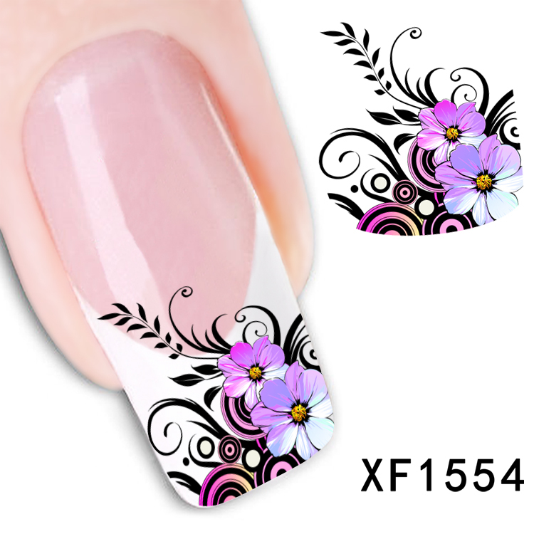 New Arrival Water Transfer Nail Art Stickers Decal Beauty Purple Flowers Black Leaf Design Manicure Tool (XF1554 L)(China (Mainland))