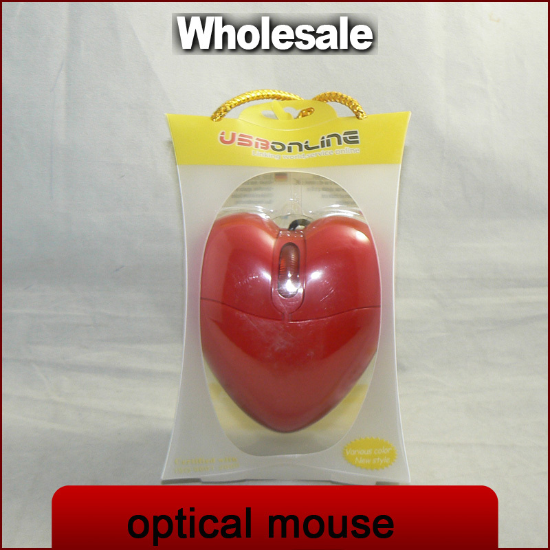 high quality wired mini 3D heart-shaped optical mouse USB 2.0 for PC and Mac(China (Mainland))
