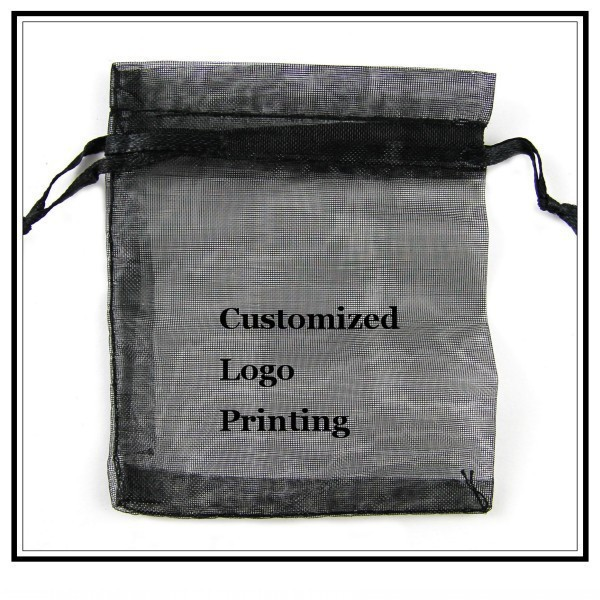 Wholesale 500pcs/lot 7x9cm Black Wedding Drawable Organza Voile Gift Packaging Bags&Pouches Can Customized Logo Printing 060519(China (Mainland))