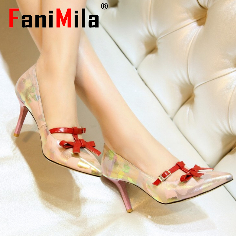 women real genuine leather bowknot pointed toe high heel shoes brand sexy fashion pumps ladies heeled shoes size 34-39 R7036<br><br>Aliexpress