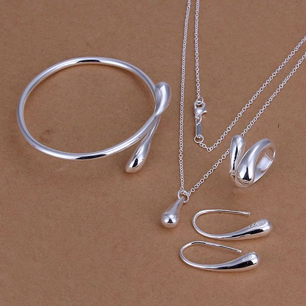 Factory price top jewelry silver plated drop jewelry sets necklace bracelet bangle earring ring free shipping SMTS222(China (Mainland))