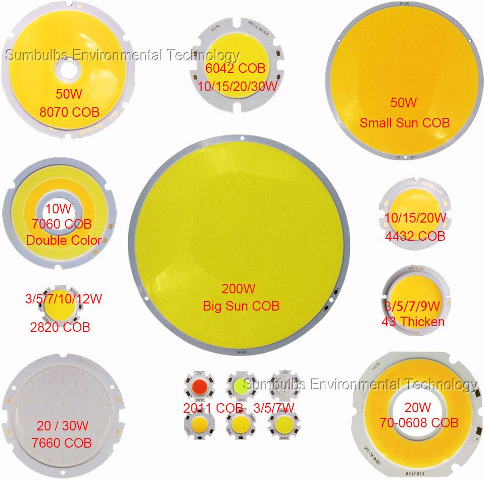 Round LED COB Lighting Source Lamp Bulb 3W-200W Circular Chip On Board for Spotlight Down Lights Floodlight DIY LEDs