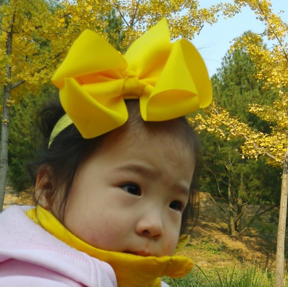 16Colors New Fashion Hot children kids Baby girls Big Ribbon Bowknot Headband Headwear Hair Band Head Piece Accessories 15cm(China (Mainland))