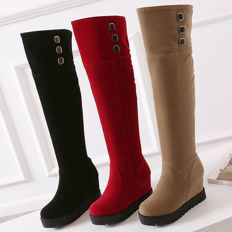 WETKISS Big Size 34-43 Height Increasing Over the Knee Boots Add Fur Women's Winter Boots Flat Sole Platform Fashion Shoes Woman