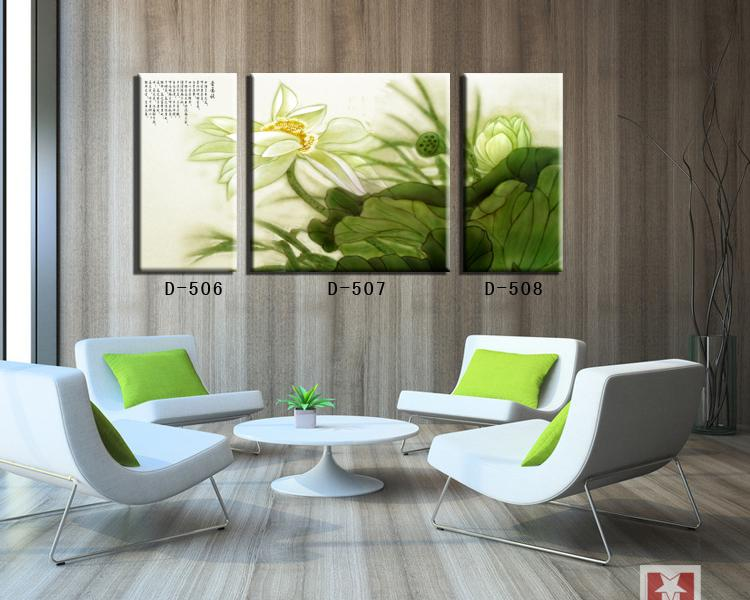 Traditional chinese painting of lotus home decor canvas art Painting Calligraphy wall pictures for office green free shipping(China (Mainland))