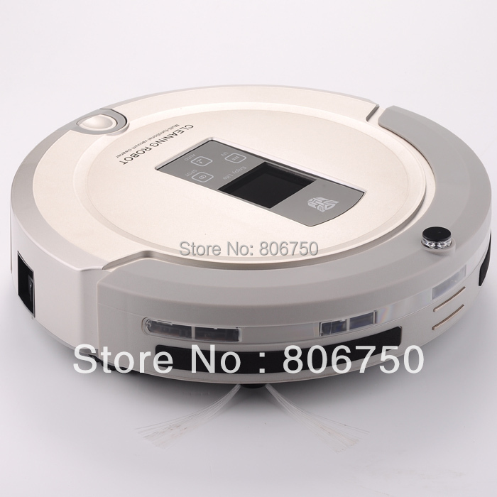 (EMS Free Shipping For Russian Buyer)4 In 1 Multifunction Robot Vacuum Cleaner ,LCD Touch Screen,Schedule,Auto Charge(China (Mainland))