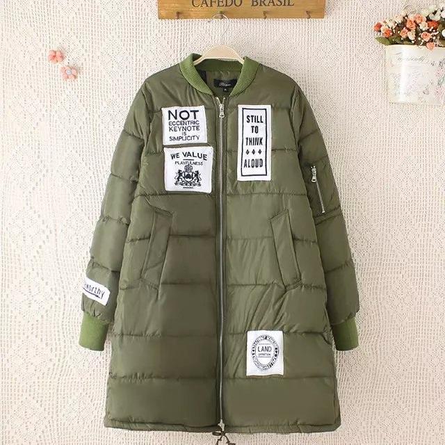 NEW 2015 Winter women applique long padded coat plus size warm thicken casual wadded jacket outwear female parka overcoat XXXL