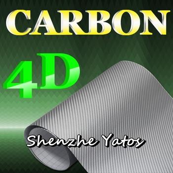 4D Silver Carbon Fiber Vinyl Car Film Sheet Air Bubble/5M/10M/15M/20M/30M
