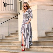 Buy Black White Striped Maxi Shirt Dress Long Elegant Maxi Party Dresses High Split Sexy Maxi Tie Waist Tunic Dress for $11.82 in AliExpress store
