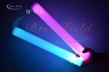 Free shipping 100pcs/lot 4.5*40cm 7function multi color changing  led foam stick glow stick led light up foam sticks(China (Mainland))