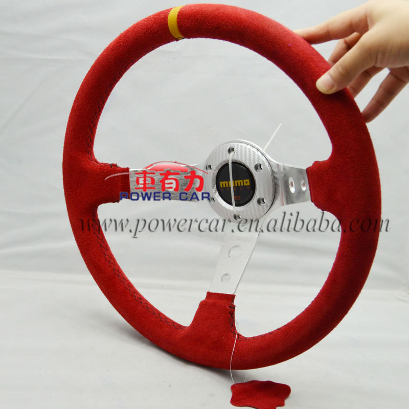 Free shipping Steering wheel ID=14inch 350mm momo Deep Corn Drifting Steering Wheel / Suede Leather Steering wheels(China (Mainland))