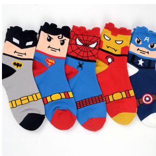 Hot USA Super Heroes Captain America Spider-Man Superman big size Jacquard Socks summer style men's knee high long socks - Jason shopping center store