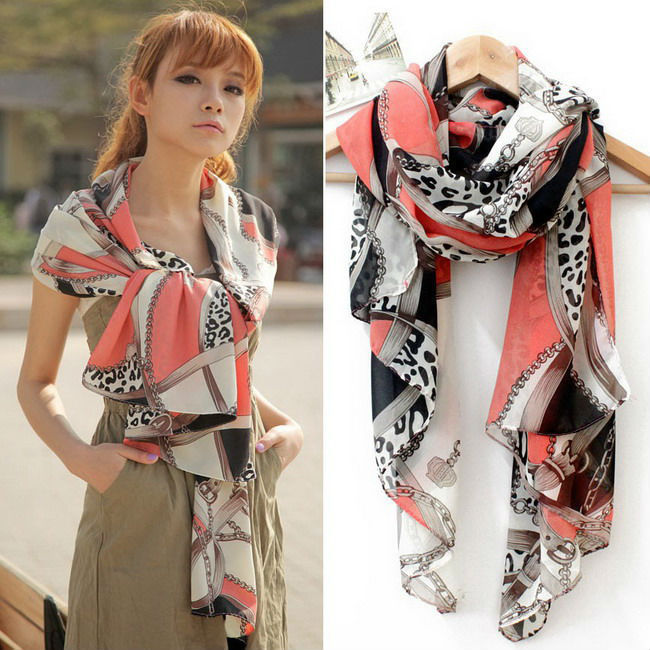 Big promotion 2015 chiffon all-match multi-element leopard print chain heart pendant scarf silk scarf cape 165x70cm(China (Mainland))