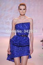 ph08920 sapphire wave belted ruffle Short bustier dress zuhair murad short petite wedding party dresses(China (Mainland))
