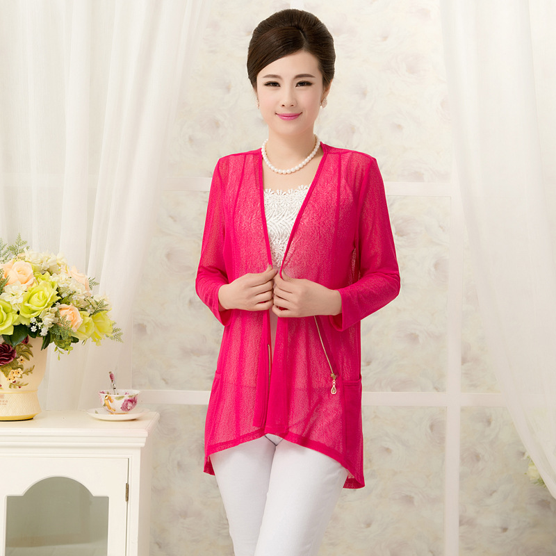 Vest Female Vest New High-grade Elderly Nine Female Sleeve Cardigan Yarn Mill Size In The Long Section Of Small Cape Sun Shirt(China (Mainland))