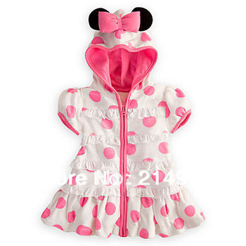 5pcs Wholesale White Girls Summer Dresses 2013 Minnie Mouse Outfit Pink Polka Dot Beautiful Girl Dress Hooded, Free Shipping