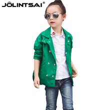 New Fashion Jacket For Girls 2016 Spring Autumn Kids Coat Girl Trech Double-Breasted Jackets Long Children's Jacket Green 4-10Y