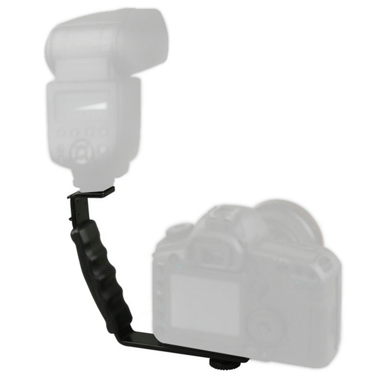 L-type flash bracket Holder with 2 Hot Shoe Support the Camera and Flash Photography LED Fill Light(China (Mainland))
