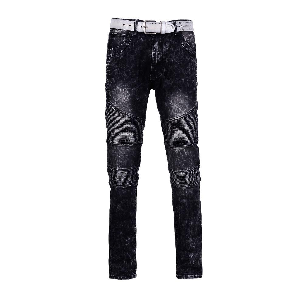 Men Skinny jeans men 2016 Distressed track slim elastic jeans denim jeans hiphop Biker black washed jeans pants(China (Mainland))