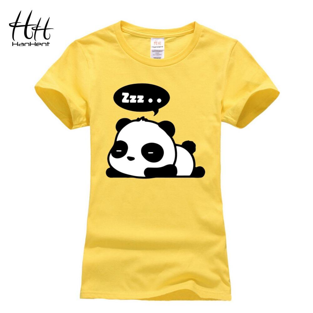 Hanhent Panda T Shirt Women Punk Rock Funny Tee Shirt