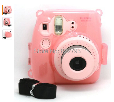 Pink Transparent Crystal Instant Camera Case Fujifilm Instax Mini 8 - Fashion gift accessories store