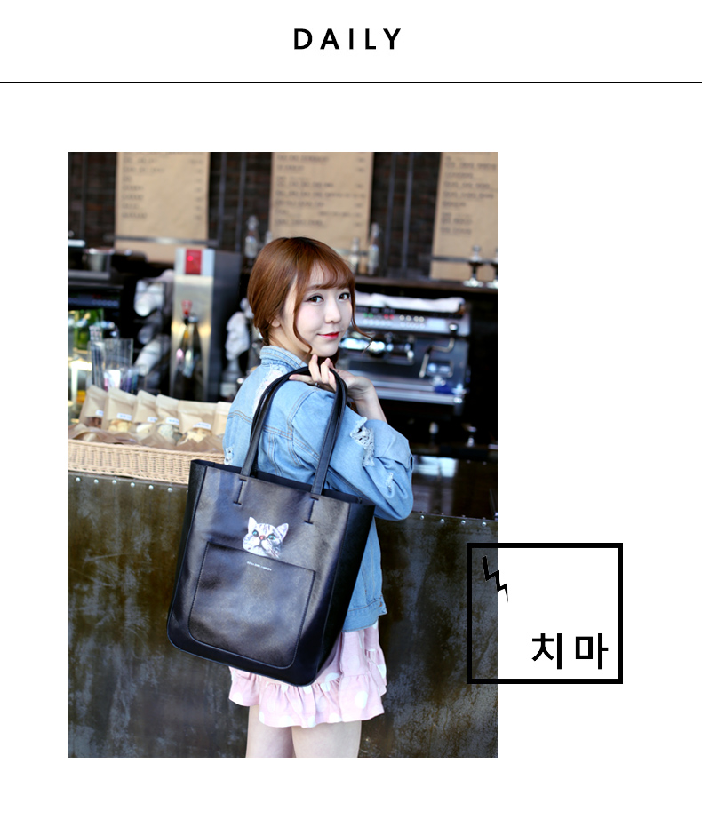 Cartoon Tote Ladies Fashion Casual Composite Bag Lovely Cat Print Hand Bag Shoulder Bag Women Designer Plain Crossbody Bag
