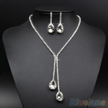 2014 Wedding Bridal Wedding Silver Plated Crystal Rhinestone Necklace Earrings Jewelry Set  1D39(China (Mainland))