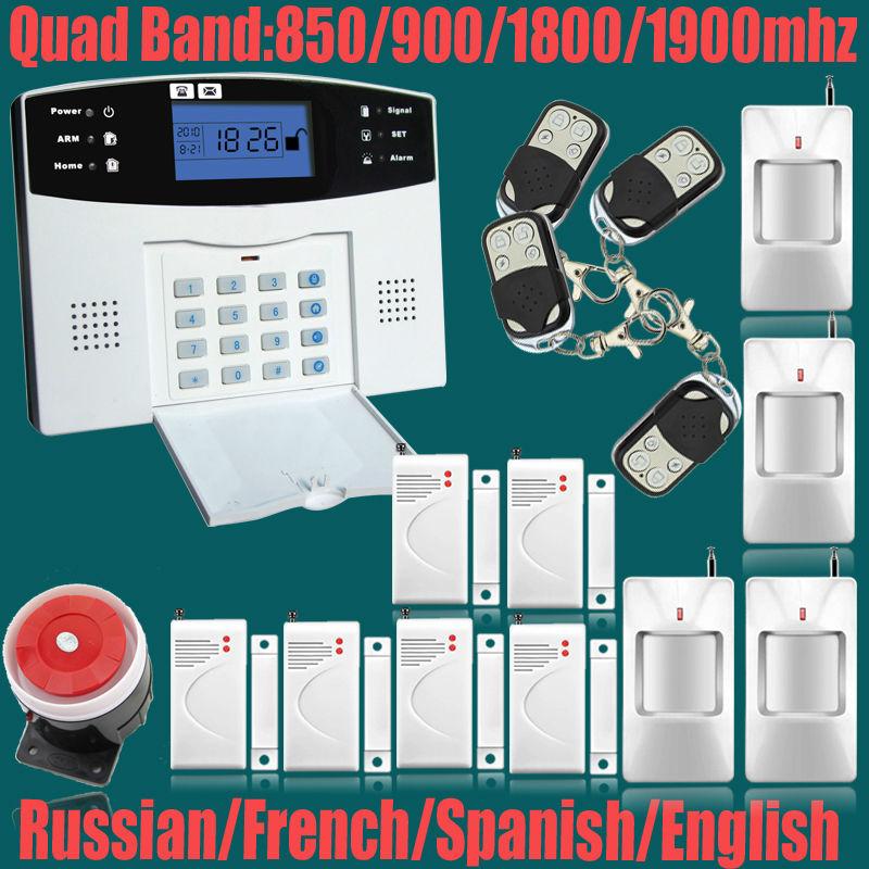 Фотография Free Shipping!Wireless 433MHZ GSM SMS Home Burglar Security Alarm System Detector Sensor Kit Remote Control