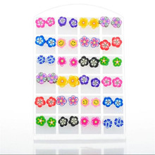 24Pairs/lot Mix Shape Polymer Clay Earring for Women Animal Fruit Silicone Colorful Stud Earring Lovely Gift Wholesale Jewelry(China (Mainland))