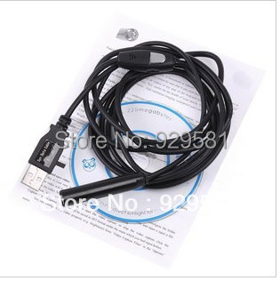 2M HD waterproof USB endoscopy Cable Wire Camera Inspection Wired Snake Scope Inspection Camera with 4 LED,Free Shipping(China (Mainland))