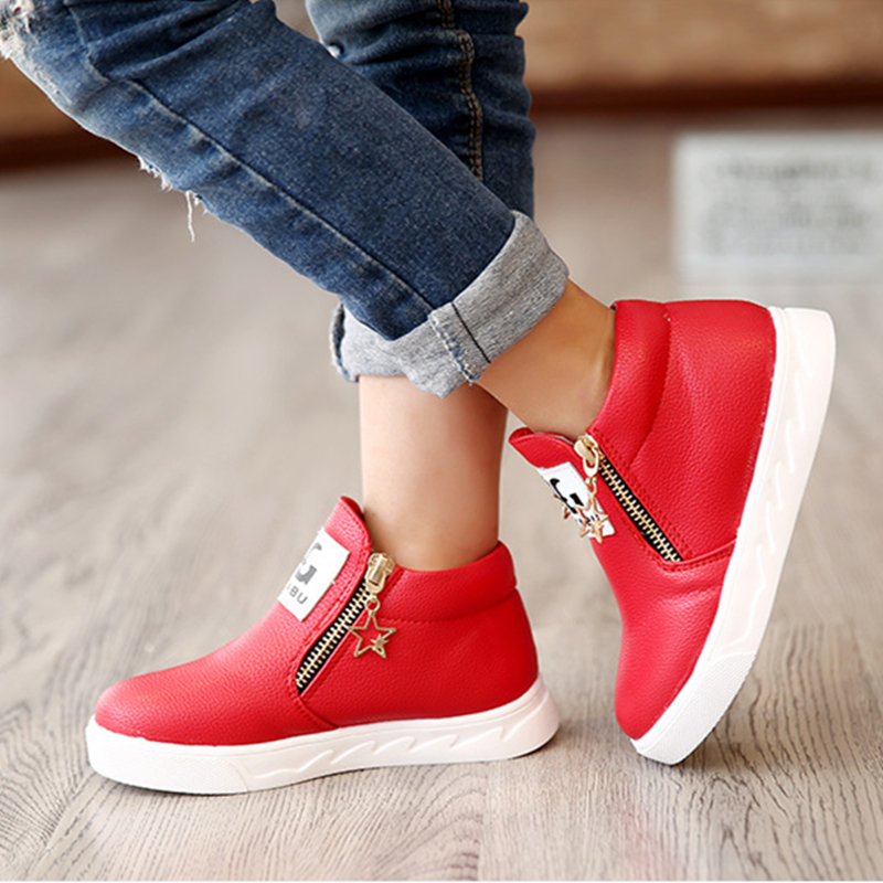 2016 New arrived Spring fashion girls boots children flat shoes zip red black pink PU ankle kid shoes size 26-36(China (Mainland))
