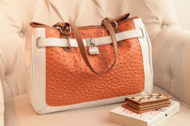 Really recommend !!! Aristocratic temperament orange ostrich shoulder bag(China (Mainland))