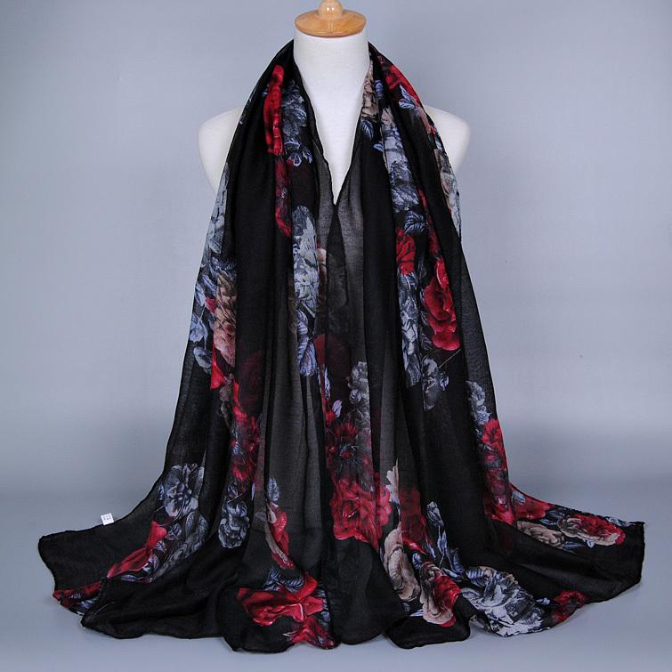 10pcs/lot Women's printe floral fashion design long 100% viscose cotton voile shawls popular head winter muslim scarves/scarf(China (Mainland))
