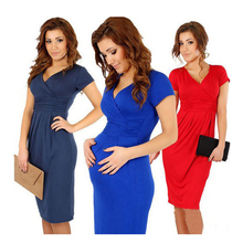 2016 Cómodo Vestido de Maternidad Con Cuello En V Vestido Sml XL Vestidos de Las Mujeres Embarazadas Más Tamaño Ropa De Enfermería Negro Rojo azul(China (Mainland))