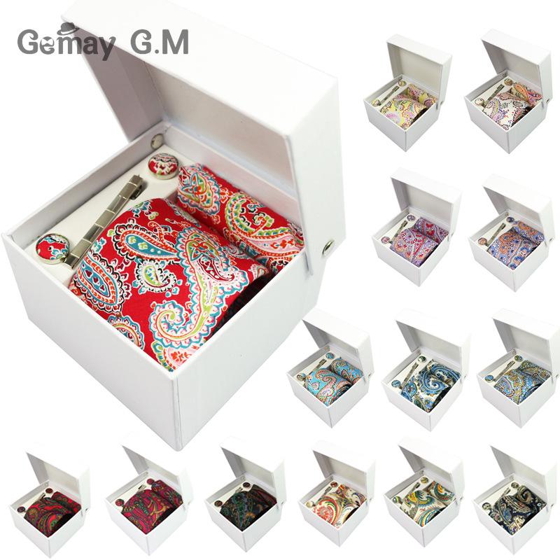 100% Cotton Floral Men's Ties Set Hanky Cufflink Tie clip Necktie with Gift Box Necktie Skinny Narrow Neck Tie for Men Cravat(China (Mainland))