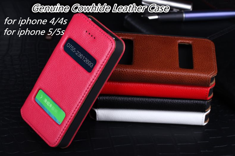 Dual Windows Caller ID Display Genuine Cowhide Leather Flip case for iphone 5 5S 4 4S