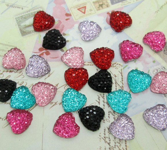 Free Shipping! 300pcs Colorful Resin Bling Heart Cabochons Flatback 10x10mm(China (Mainland))