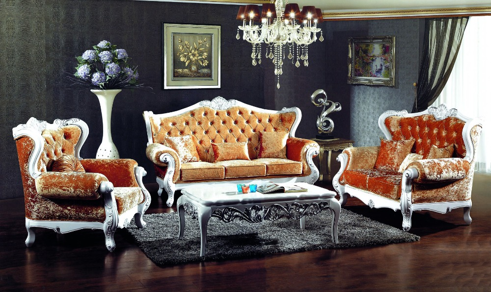 french style orange color fabric sofa sets living room furniture,antique style wooden sofa from Foshan market(China (Mainland))